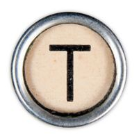 Letter2word Babes & Kiddo Typewriter Key Letter T 8.5-Inch x 8.5-Inch Wall Art