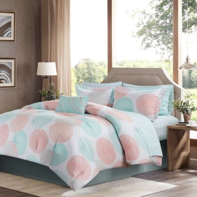madison park essentials knowles complete 9piece california king comforter set in coral - California King Bed Sheets