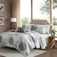 Madison Park Essentials Knowles Complete Full Coverlet Set in Grey