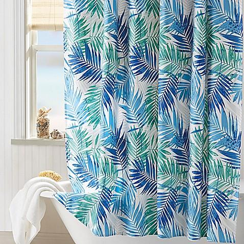 Coastal Living 174 Palm Shower Curtain In Aqua Bed Bath
