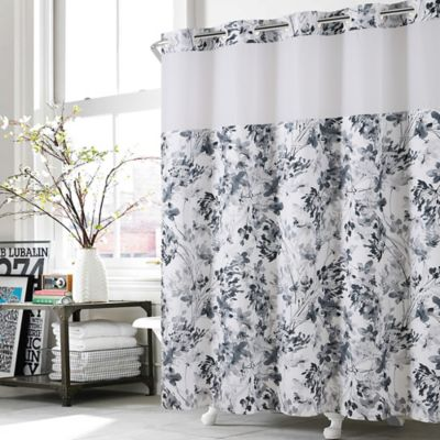 Gentil Hookless® Watercolor Floral Shower Curtain In Black/White