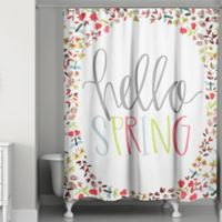 "Designs Direct Spring ""Hello Spring"" 74-Inch Shower Curtain in Green"