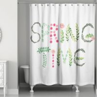 "Designs Direct Spring ""Spring Time"" 74-Inch Shower Curtain in Green"