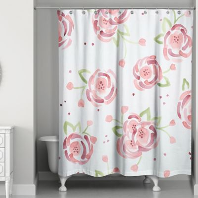 Designs Direct Spring Watercolor Roses 74 Inch Shower Curtain In Pink Green