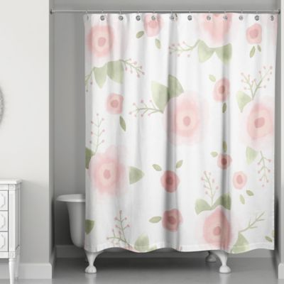 Designs Direct Spring Watercolor Florals 74 Inch Shower Curtain In Pink Green