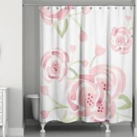 Designs Direct Spring Large Watercolor Roses 74-Inch Shower Curtain in Pink/Green