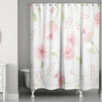 Designs Direct Spring Light Watercolor Buds 74-Inch Shower Curtain in Pink/Green