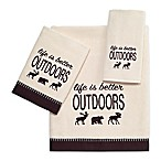 "Avanti ""Life is Better Outdoors"" Velour Bath Towel in Ivory"