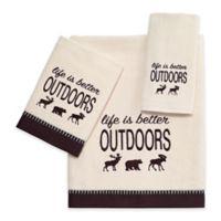 "Avanti ""Life is Better Outdoors"" Velour Fingertip Towel in Ivory"