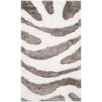 Safavieh Barcelona 3-Foot x 5-Foot Shag Area Rug in Ivory/Silver