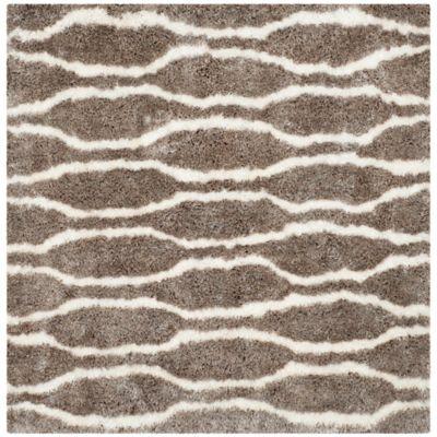 safavieh barcelona 5foot square shag area rug in silverivory