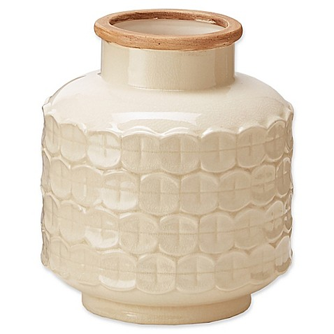 image of Madison Park Averly Modernist Vase in Cream
