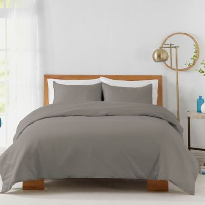 cotton sateen twin duvet cover set in grey