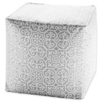 Madison Park Aptos Square Outdoor Pouf in Grey