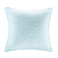 Madison Park Aptos 20-Inch Square Outdoor Throw Pillow in Aqua