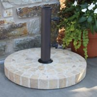 Outdoor Interiors 20-Inch Round Umbrella Base in Brown Marble