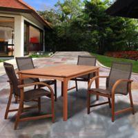 Amazonia Bahamas 5-Piece Rectangular Eucalyptus Outdoor Patio Dining Set in Brown