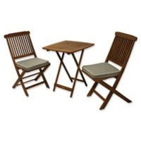 Outdoor Interiors Eucalyptus Wood 3-Piece Square Bistro Set with Grey Cushions