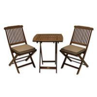 Outdoor Interiors Eucalyptus Wood 3-Piece Round Bistro Set with Tan Cushions