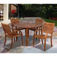 Amazonia Arizona 5-Piece Round Eucalyptus Wood Outdoor Patio Dining Set