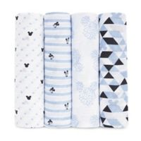 aden® Disney by aden + anais® 4-Pack Mickey Muslin Swaddle Blankets in Blue/White