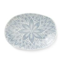 viva by VIETRI Lace Large Oval Platter in Grey