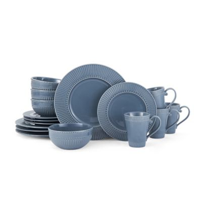 Mikasa® Italian Countryside Accents Fluted 16-Piece Dinnerware Set in Blue  sc 1 st  Bed Bath \u0026 Beyond & Buy Mikasa Everyday Dinnerware from Bed Bath \u0026 Beyond