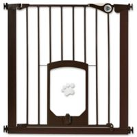 MyPet Passage 30-Inch Gate with Small Pet Door in Matte Bronze