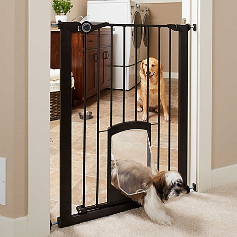 Mypet Passage 36 Inch Tall Pet Gate With Small Pet Door In