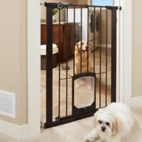 MyPet Passage 42-Inch Extra Tall Pet Gate with Small Pet Door in Matte Bronze