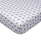 Living Textiles Sketchbook Little Crowns Fitted Crib Sheet in Cornflower Blue