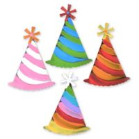 Letter2word Babes & Kiddos 4-Pack Party Hat Wall Art