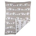 Living Textiles Elephant Parade Knit Blanket in Grey
