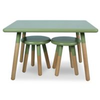 Kids 3-Piece Dipped Table and Stool Set in Olive