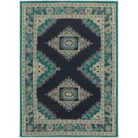 Oriental Weavers Highlands Bordered Floral 3-Foot 10-Inch x 5-Foot 5-Inch Scatter Rug in Blue