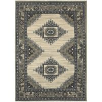 Oriental Weavers Highlands Bordered Floral 6-Foot 7-Inch x 9-Foot 6-Inch Area Rug in Beige