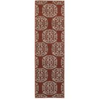 Oriental Weavers Highlands Floral Tile 2-Foot 3-Inch x 7-Foot 6-Inch Runner in Red