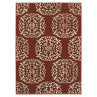 Oriental Weavers Highlands Floral Tile 5-Foot 3-Inch x 7-Foot 6-Inch Area Rug in Red