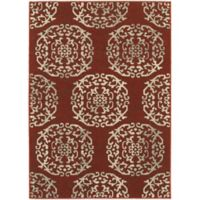 Oriental Weavers Highlands Floral Tile 6-Foot 7-Inch x 9-Foot 6-Inch Area Rug in Red