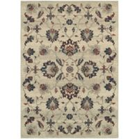 Oriental Weavers Highlands Floral 6-Foot 7-Inch x 9-Foot 6-Inch Area Rug in Beige