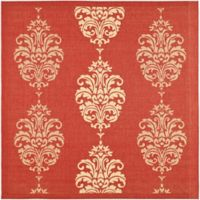 Safavieh Courtyard 7-Foot 10-Inch Square Indoor/Outdoor Area Rug in Red/Natural