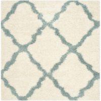 Safavieh Dallas 6-Foot Square Shag Area Rug in Ivory/Light Blue