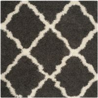 Safavieh Dallas 6-Foot Square Shag Area Rug in Dark Grey/Ivory