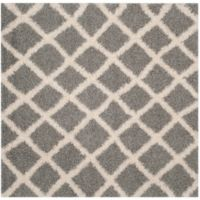 Safavieh Dallas 6-Foot Square Shag Area Rug in Grey/Ivory