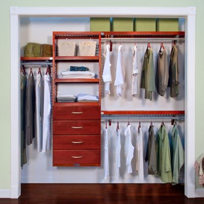 John Louis Home Premier Closet Organizer With 4 Drawers In Red Mahogany
