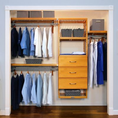 John Louis Home Deluxe Closet Organizer With 3 Drawers In Honey Maple