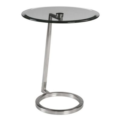 Uttermost Ordino Steel Accent Table In Brushed Nickel