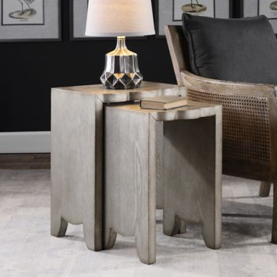 Uttermost Imala Nesting Tables In Burnished Silver (Set Of 2)