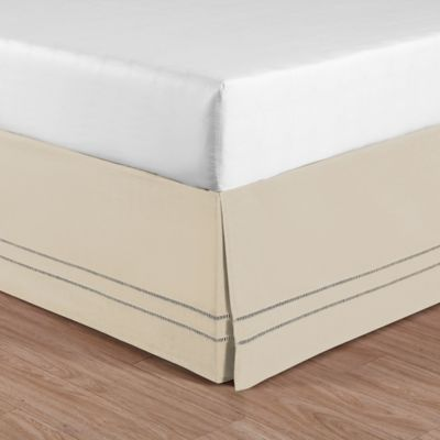 linenweave hemstitch twin bed skirt in stone