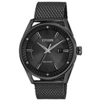Citizen Drive from Eco-Drive Men's 42mm CTO Watch in Black Stainless Steel with Black Mesh Strap